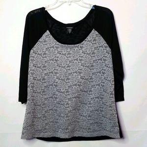 Torrid 3/4 sleeve lace scoop neck black top blouse